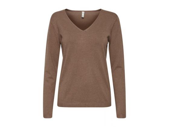 PZSARA Brown v-neck Pullover
