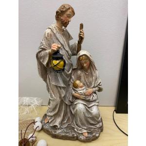 Josef og Maria grå/glitter  30cm