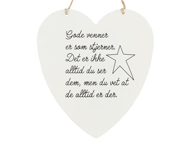 Skilt hjerte stort Gode venner stjerner