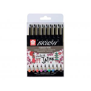 Sakura Pigma Brush Pen – Sett med 9 farger
