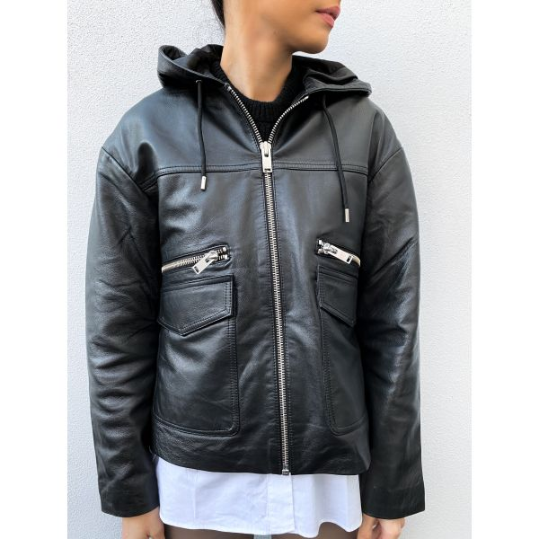 Didde Hoodi Leather Jacket