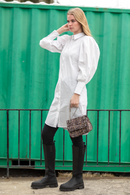 Collie Puff  Shirt Dress - White