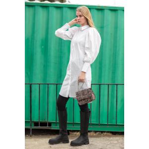 Collie Puff  Shirt Dress - White