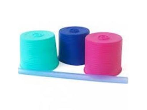 Silikids lokk og sugerør 3-pack, Rosa/turkis/blå