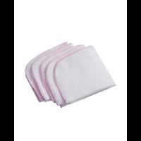 Gas vaskeklut 5 pk hvit med rosa kant