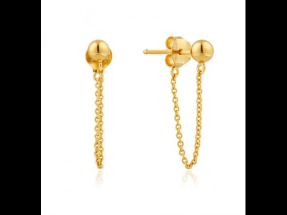 Gold Modern Chain Stud Earrings