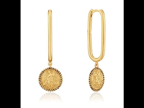 Gold Winged Goddess Hoop Earrings