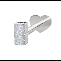 Rhodinert sølv - 2 Zirkonia (Flatback)
