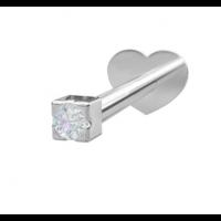 Rhodinert sølv - Zirkonia (Flatback)