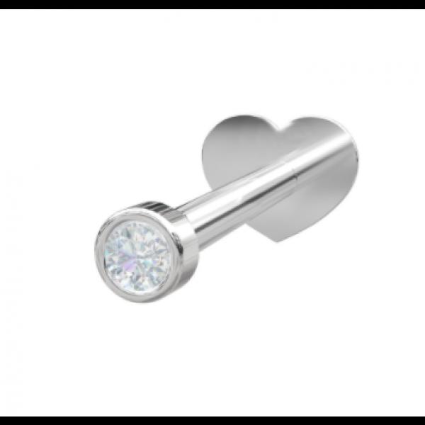 Rhodinert sølv - Zirkonia RUND (Flatback)