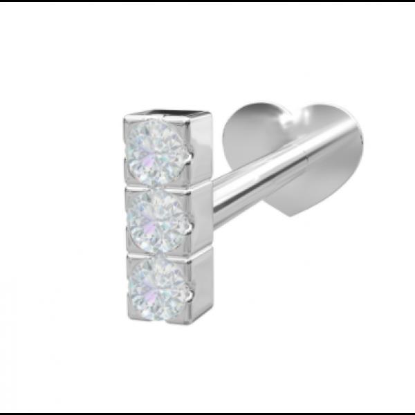 Rhodinert sølv - 3 Zirkonia (Flatback)