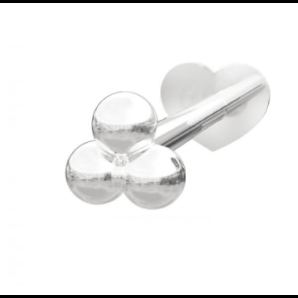 Rhodinert sølv - 3 Kuler (Flatback)