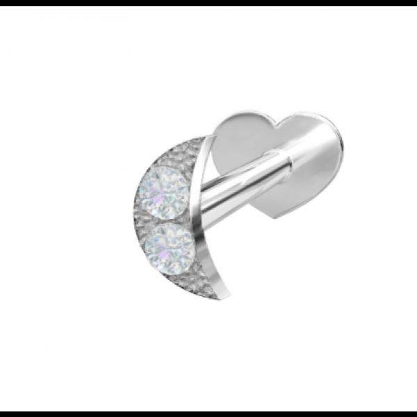 Rhodinert sølv - Zirkonia Måne (Flatback)