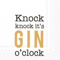 """Knock Knock it`s gin o`clock"" cocktailserviett"