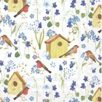 """Servietter, """"Birdhouse in spring"""
