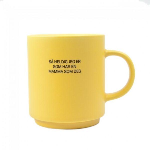Kopp Mamma som deg, matt gul