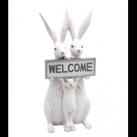 "Harefamilie med skilt ""welcome"""