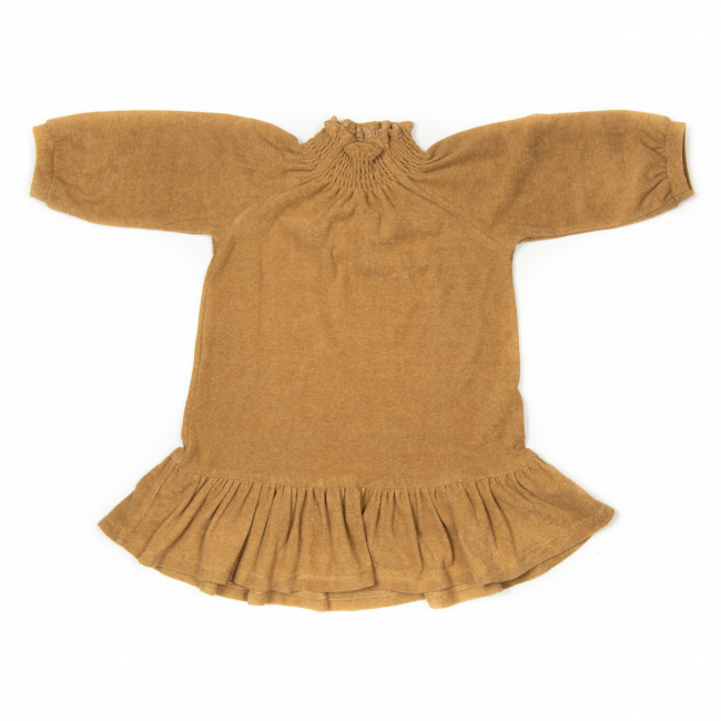 HUTTELIHUT - NOVA DRESS FROTTÉ OCRE