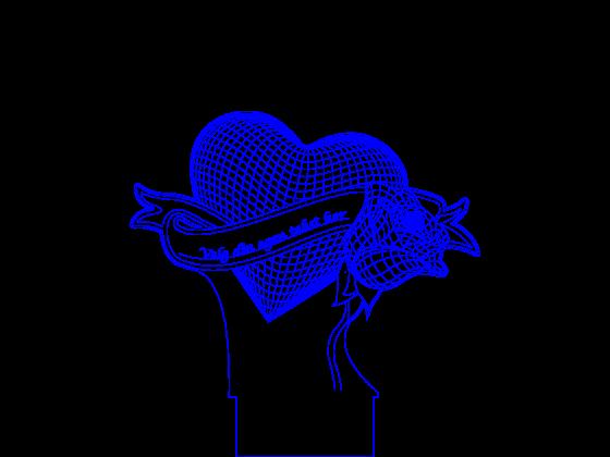 3D Lampe - Blomst med hjerte. Redigerbar tekst