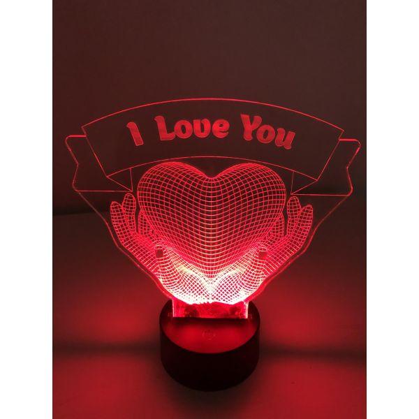 3D Lampe - Hender med hjerte og tekst