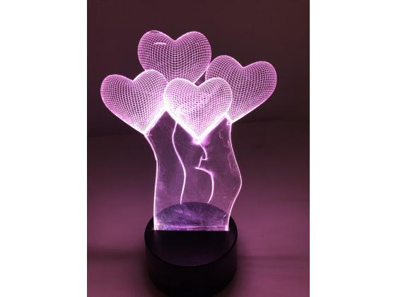 3D Lampe - Hjertebalonger