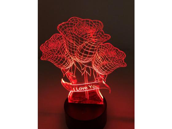 3D Lampe - Roser med redigerbar tekst