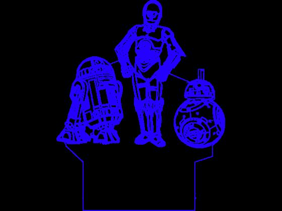 3D Lampe - BB8 R2D2 C3PO