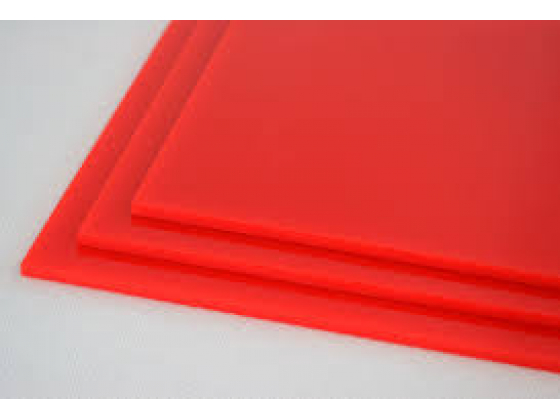 Akryl 3mm rød 40x37,5cm