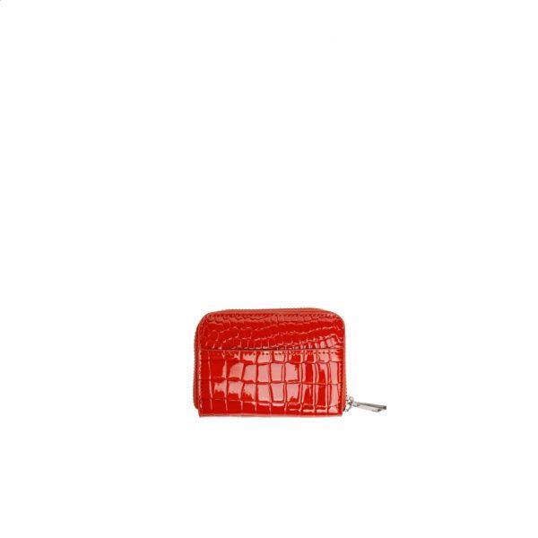 Lommebok zip croco oransje/rød
