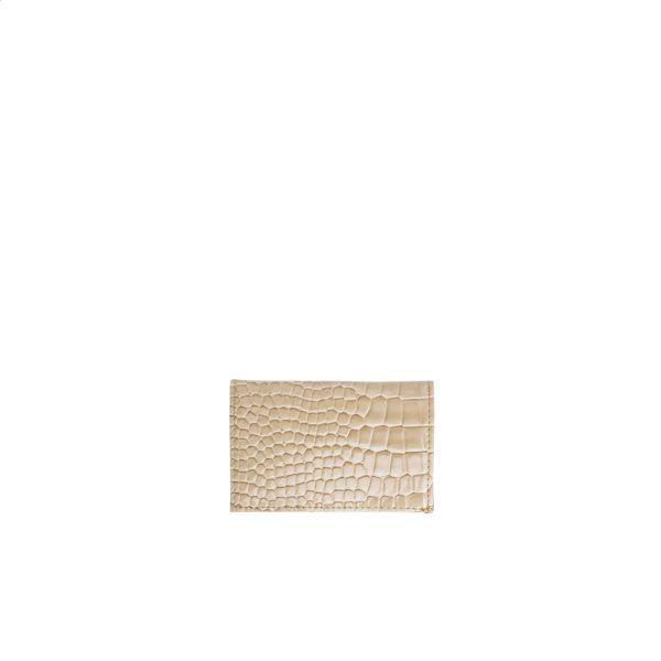 Lommebok folded croco light beige