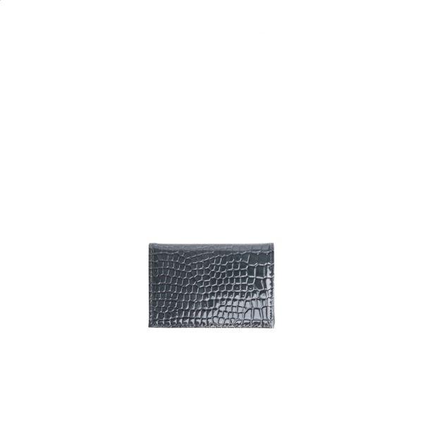 Lommebok folded croco dark grey