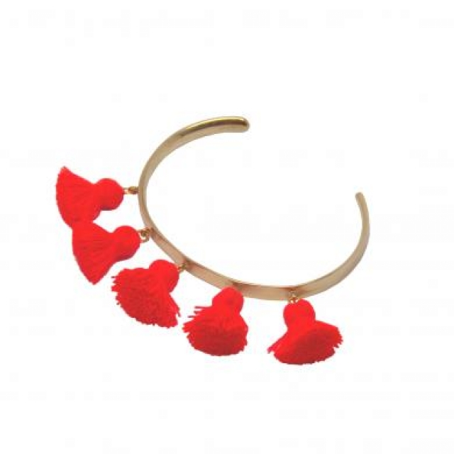 RAQUEL TASSEL BANGLE GP HOT ORANGE