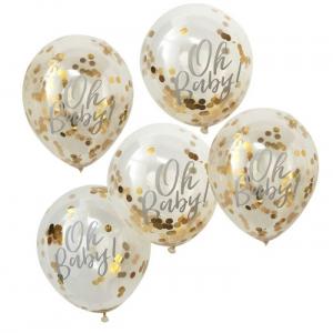 Ballong Oh Baby med Confetti i Gull 30 cm, 5 stk