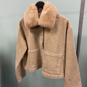 Pica Corduroy Jacket Faux Fur Taupe