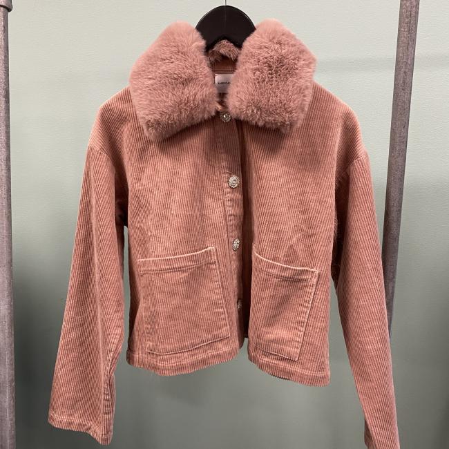 Pica Corduroy Jacket Faux Fur Pink