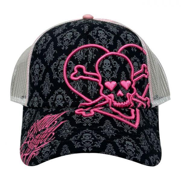 LT HEART SKULL FEMALE TRUCKER CAP BLACK/PINK