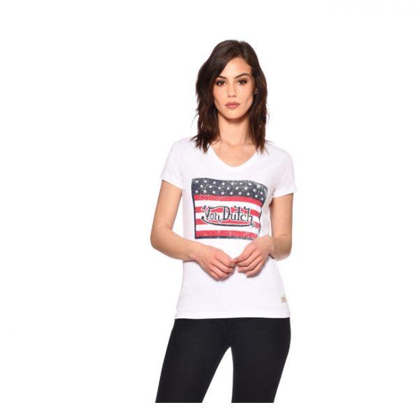 VON DUTCH LADIES USA T-SHIRT WHITE