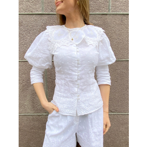 Linen Collar Blouse - White