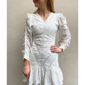 Broderie Anglaise Rouching Dress - White