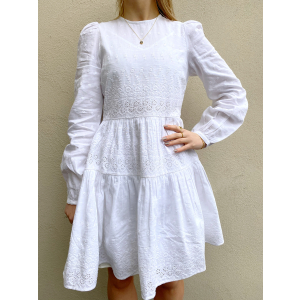 Linen Mini Dress - White