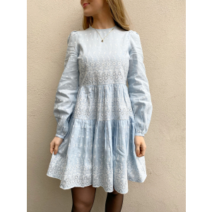 Linen Mini Dress - Light Blue