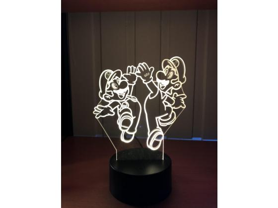 3D Lampe - Mario og Luigi