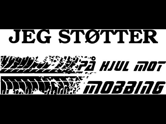 Car sticker: Jeg støtter på hjul mot mobbing
