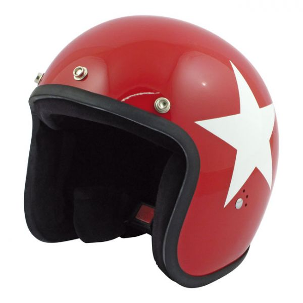 BANDIT STAR JET HELMET, RED W/WHITE STAR