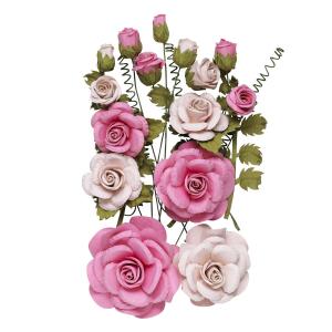 Papirroser 15 stk. rosa
