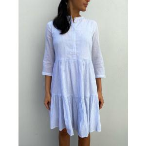 Famira 3/4 Dress - Bright White Stripes