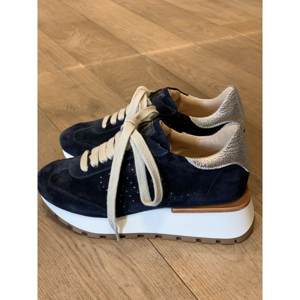 Navy velour sneakers P6603B-46