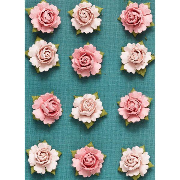 Små 3D-roser 12 stk. rosa