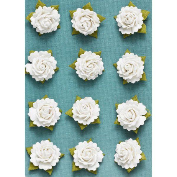 Små 3D-roser 12 stk. hvit