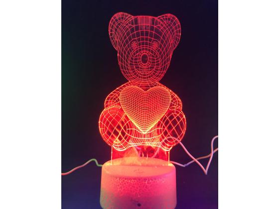 3d Ledlampe - Bamse med hjerte